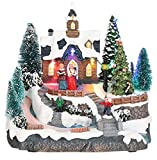 MIJOMA Weihnachtsdekoration Weihnachtsszene mit Beleuchtung & Bewegung (Weihnachtsdorf-Kirche)