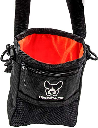 Hundefreund Leckerlibeutel für Hunde | Kleiner Futterbeutel zum Training mit dem Hund und für Leckerlis | 4 Tragevarianten mit 4 Fächern (14 x 11 x 4 cm)