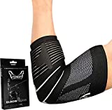 Venom Strapped Elbow Brace Compression Sleeve - Elastic Support for Tendonitis Pain Tennis