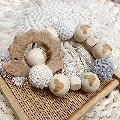 Hérisson bio en bois anneau de dentition bébé douche cadeau perles en bois hochets bébé bracelet de dentition