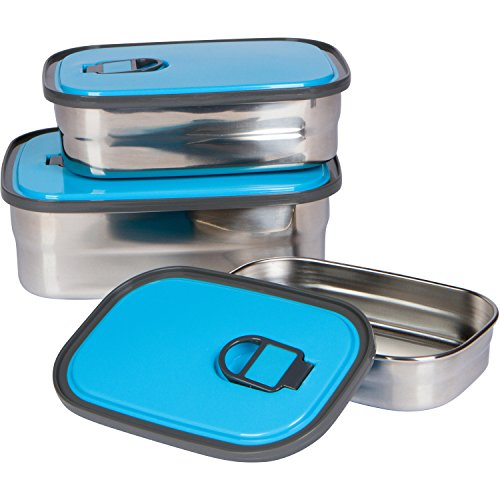 Bambusa Stainless Steel Food Containers Bento Lunch Box, Leak Proof Seal, Healthy, Kids, Adults, Outdoor Picnic Meals, BPA Free, Blue