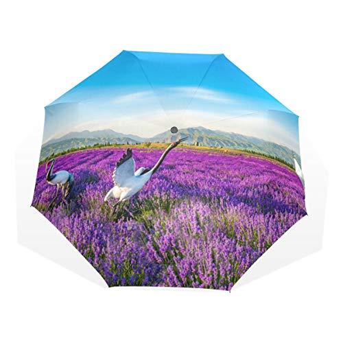 Regenschirm 3 Falten anpassen Flower Field Lavender Crane Anti-UV-Windproof Lightweight