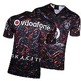 GWCASA Camiseta de Rugby para Hombres Nueva Zelanda 17-18 Guerreros Rugby Jersey, Fan Edition Capacitación Sudadera, Bordado Polo Sports Top Sports Home-XL