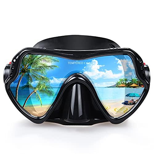 Erwachsene Tauchmaske, professionelle Schnorchelbrille, Anti-Leck Taucherbrille, 180° Pano Anti-Fog Schwimmbrille Tempered Glas Tauchgerät Maske, Verstellbares Silikonband für Schnorcheln Schwimmen