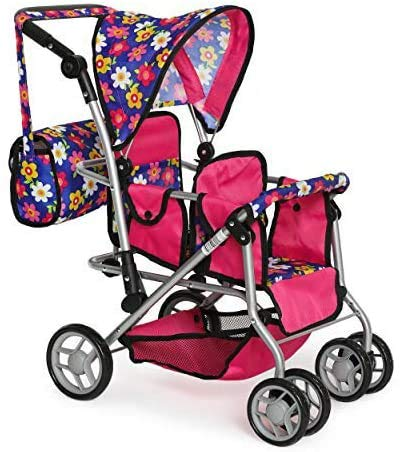 Exquisite Buggy My First Twin Doll Stroller - Double Umbrella Stroller - Baby Doll Accessories - Pink Foldable Doll Pram with Diaper Bag - Fits Up to 18 inch Twin Baby Dolls