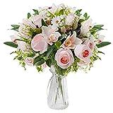 Love Bloom Rosas Artificiales con Florero - Ramillete Rosas/Orquídeas Seda Falsas Floración en Jarrón Transparente con Cinta Raso – Arreglo Florar Decorar Mesa, Hogar, Oficina, Boda (Rosado Claro)