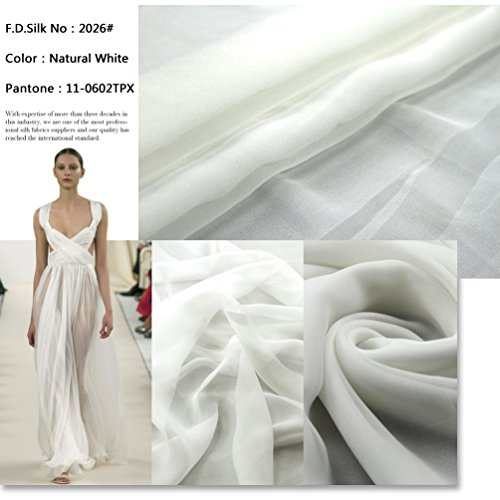 F.D.Silk Natural White 100% Pure Silk Chiffon Fabric by The Yard, 48 Colors, Natural White Ch-026
