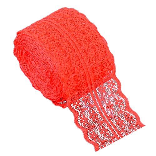 Gosear 10 m Puntillas de Encaje - Sólido Color Encaje Cinta Nupcial Boda Bricolaje Ropa Cortina Accesorios (Rojo)
