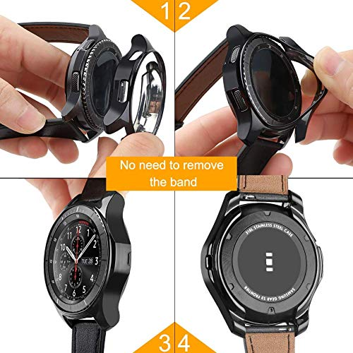JZK Case for Samsung Galaxy Watch 46mm Gear S3 Screen Protector,Shatter-Resistant Protective Shell TPU Cover Case for Samsung Gear S3 Frontier/Classical and Galaxy Watch 46mm Accessories,Silver 7