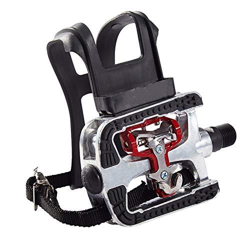 COZYROOMY SPD Hybrid Pedali - Pedale Combinato con Gabbia e Cintura per Cyclette, Spinning Bike e Tutte Le Bici da Esterno con assale 9/16'. 6 Mesi di Garanzia
