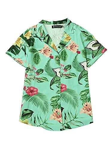Allegra K Camisa Estampada con Hojas Florales Hawaianas Manga Corta Botón Abajo Vintage Blusa Top Playa para Mujeres Menta XS