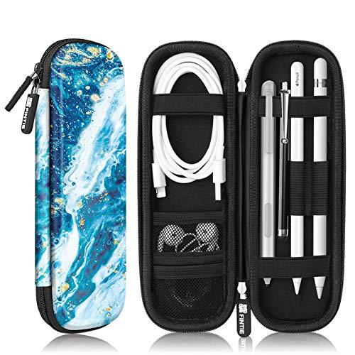 Fintie Hülle für Apple Pencil (1. / 2. Generation) - Kunstleder Stifthalter für Samsung, Huawei, Surface Pro Stylus Pen Tasche Schutzhülle mit Ablagefach für S Pen & USB Kabel, Meeresblau