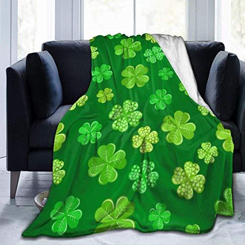 OIVLA Manta de Sofá,Manta de Lana,Green Shamrock On Dark of St Patrick\'s Day Soft Cozy Luxury Bed Blanket Microfiber Fleece Blanket All Season Lightweight Throw for The Bed