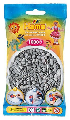 Hama Perlen 207-17 Bügelperlen Beutel mit ca. 1.000 Midi Bastelperlen mit Durchmesser 5 mm in grau, kreativer Bastelspaß für Groß und Klein