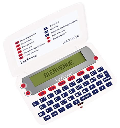 LEXIBOOK-Le Diccionario del francés LAROUSSE, definiciones, sinónimos, conjugación, Corrector de ortografía, a Pilas, Blanco/Rojo, D850FR