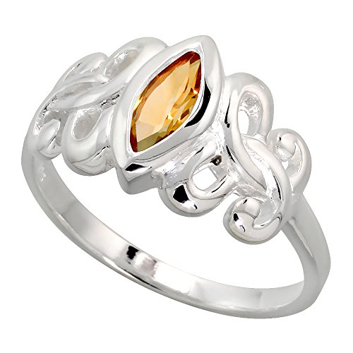 Sterling Silver Celtic Motherhood Symbol Knot Ring with Natural Citrine 3/8 inch Wide, Size 9