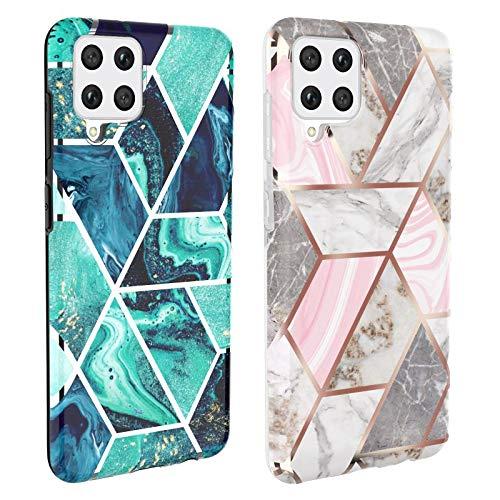 DREKEMU 2 Stück Marmor Hülle für Samsung Galaxy A42 5G, Glitzer Silikon Handyhülle Schlank Weich TPU Bumper Handytasche Flexible Kratzfest Schutzhülle für Samsung Galaxy A42 5G - Rosa Grau, Blau