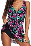 Ocean Plus Mujer Verano Elegante Bañador de Encaje Colorido con Espalda Descubierta y Escote en V con Braguita Trajes de Una Pieza con Falda de Baño Ropa de Playa (EU 42-44 (L), Flores moradas)