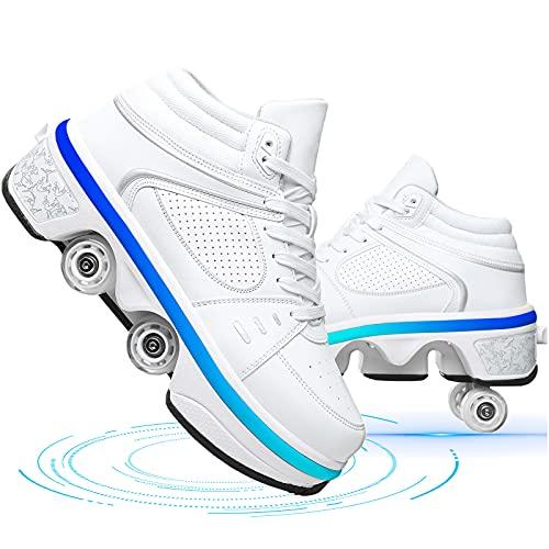 Dytxe-shelf Doble Fila Patines De Ruedas Adulto Multifunción Deformación Zapatillas con Ruedas Niños LED Luces 7 Colores Zapatos De Skate Al Aire Libre USB Carga