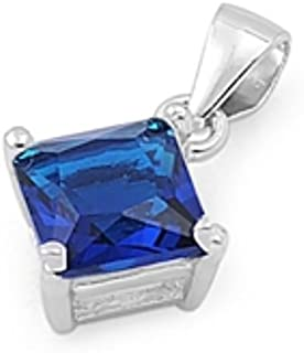 Stone Pendant Square Shape Simulated Blue Sapphire 925 Sterling Silver