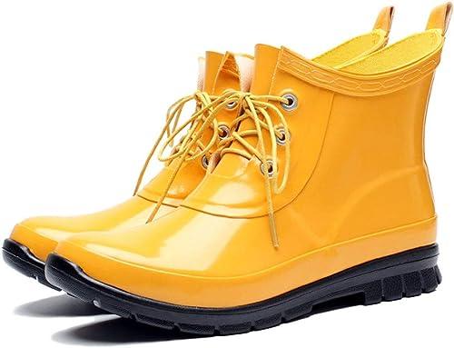 botas de lluvia botas de lluvia botas de lluvia botas de lluvia de moda juvenil de goma antideslizante a prueba de agua Adecuadas para la lluvia Zapaños esenciales para viajes al aire libre amarillo N