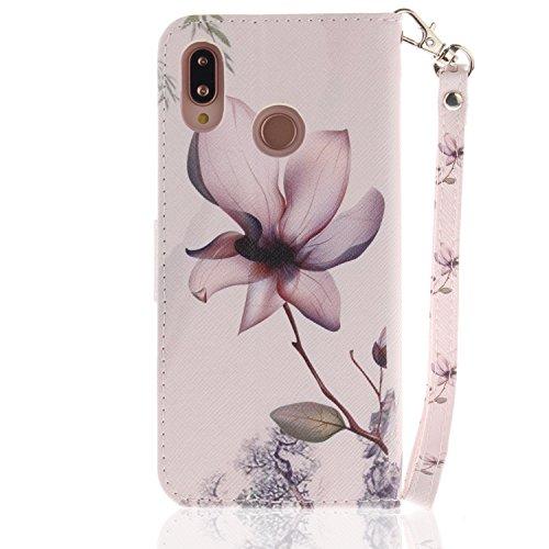 Capa para Huawei P20 Lite/Nova 3e, proteção de couro PU com compartimentos para cartões pintados fofos + 1 protetor de tela de vidro temperado 9H (6)