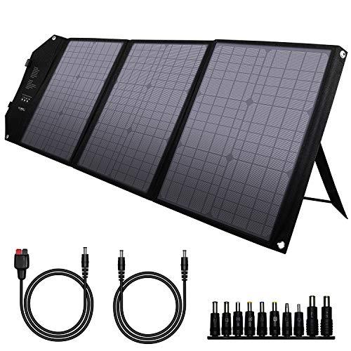 powkey 60W 18V Panel Solar Portátil con USB C, Doble USB QC3.0, Salida de DC, Tecnología TIR-C, Impermeable y Plegable, para la Mayoría de Generaciones Solares, Camping, Móvil y Portátiles