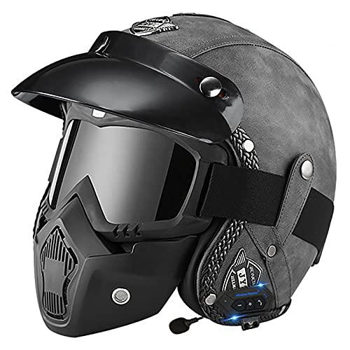 Bluetooth Casco Moto Jet,ECE Homologado,Adultos Casco Moto Abierto 3/4 Casco Moto para Mujer y Hombre,Casco Crash para Mofa Piloto Cruiser Chopper Scooter Biker B,M=57~58cm