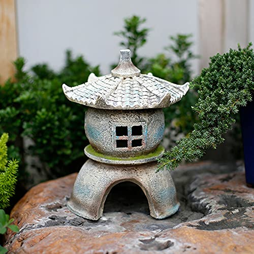 Estatua De Jardín Linterna Solar De Estilo Japonés Zen Pagoda Decoración Interior/Exterior para El Hogar Jardín Patio Decoración De Arte De Patio De Cubierta