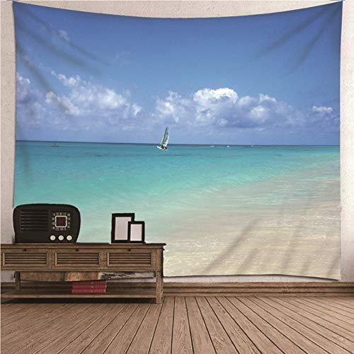 Beydodo Tapices Vintage Playa con Velero Azul,Tapiz Tela Poliéster Talla 350X256CM