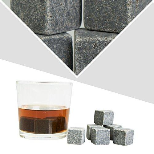 Grinscard Whiskysteine 9 STK. Wiederverwendbar - Grau Speckstein 2 x 2 x 2 cm - Kühlsteine für Party Hausbar Reisen - 5