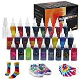 Tie Dye DIY Kit, 26 Colors Rainbow Fabric Dye Kit for Kids, All in One DIY Fashion Tie Dye Kit for Party Activities Creative Group