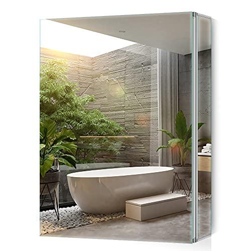 Tokvon® Limerence Muebles de baño Mueble de Espejo de Aluminio con Grandes estantes Ajustables Storge Puerta Doble 500x650 mm