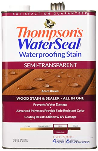 Thompson's Waterseal Waterproffing Stain - Semi Transparent, Acorn Brown, 1 gallon