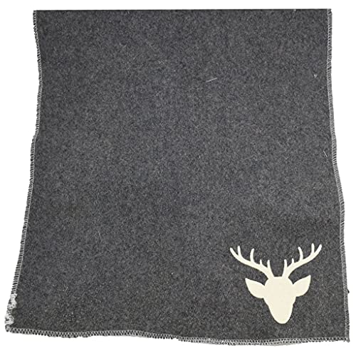 CHICCIE Set di 2 tovagliette con cervo e bordo cucito in lana grigio 48 x 33 cm