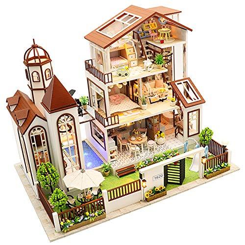 W&HH Puppenhaus DIY Dollhouse Kit, DIY Puppenhaus, Große Villa Sandkasten Mit 3D-Modell, Kreativer Geburtstag Weihnachten