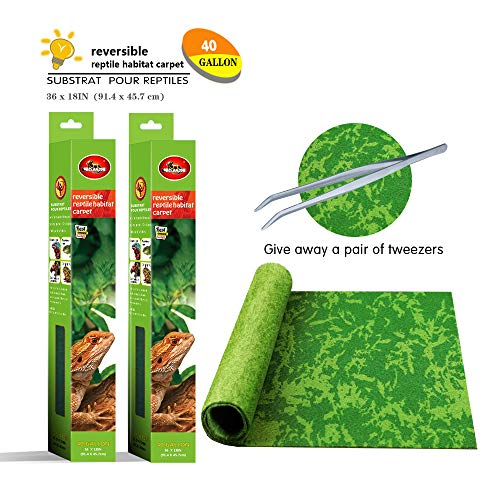 Mclanzoo Reptile Carpet,Pet Terrarium Liner,Reptiles Cage Mat/Substratefor Snakes, Chameleons, Geckos ands Kitchen Use(2sheets) with Tweezers Feeding Tongs (Printing Tropical, 40Gallon(36X18in))