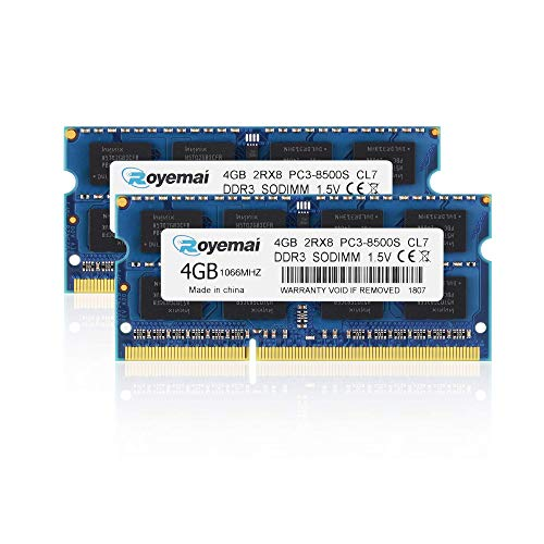 ROYEMAI 8GB Kit (2x4GB) PC3-8500 DDR3 1066MHz RAM 2Rx8 4GB 204pin SO-DIMM 1.5V CL7 RAM Memory Upgrade for MacBook, MacBook Pro, iMac, Mac Mini