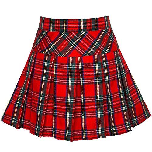 Sunny Fashion Chicas Falda Regreso a Clases Uniforme Rojo Tartán Falda 6 años