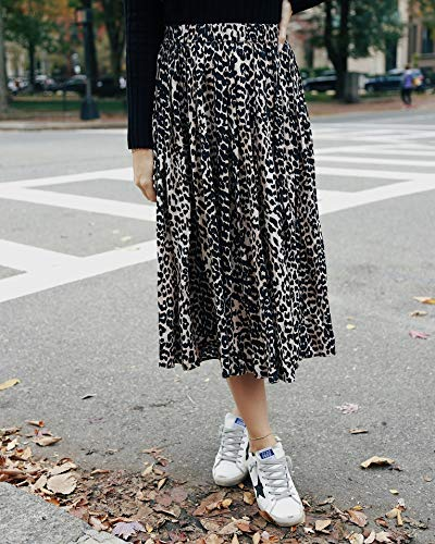 The Drop Women's Leopard Print Pleated Pull-On Midi Skirt by @somewherelately