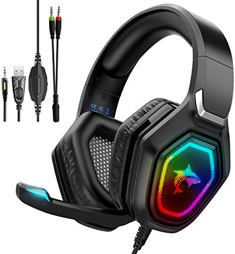 Gaming Headset with Mic & LED Light Noise Cancelling Over Ear Headphones for Nintendo Switch PS4 PS5 PC Xbox One Laptop Phones,50MM Speaker Driver,Stereo Sound Headset with Microphone