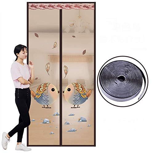HEWEI Magnetische vlieg scherm deur vogel muggennet met magische tape insect scherm deur vliegen scherm anti-plaag bruin 90x210cm/35.4x82.6inch