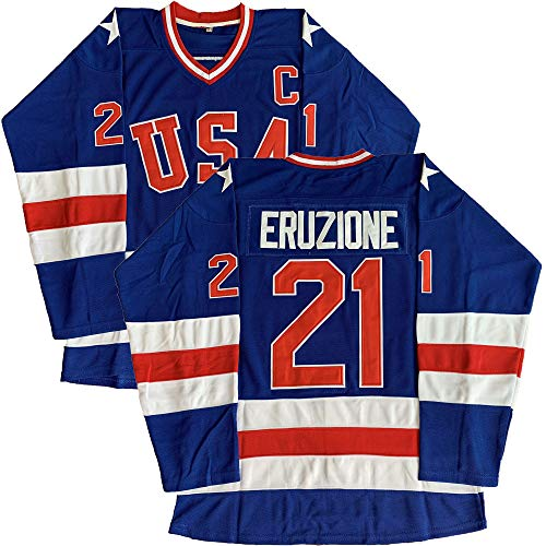 #21 Mike Eruzione 1980 Miracle On Ice USA Hockey 17 Jack O'Callahan 30 Jim Craig Stitched Hockey Jerseys (21 Blue, XX-Large)