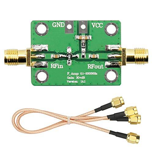 WayinTop 0,1-2000 MHz HF Breitbandverstärker 30 dB Hoher Gewinn niedriger Lärm Verstärkermodul Brett + 2 STK. 20cm SMA Stecker auf SMA Stecker RG316 WiFi Antennenverlängerung RF Koaxialkabel Adapter