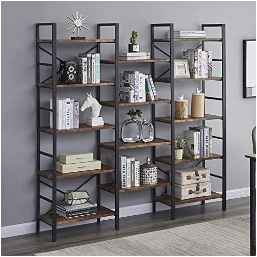 SUPERJARE Triple Wide 5-Tier Bookshelf, Rustic Industrial Style Book Shelf, Wood and Metal Bookcase Furniture for Home…