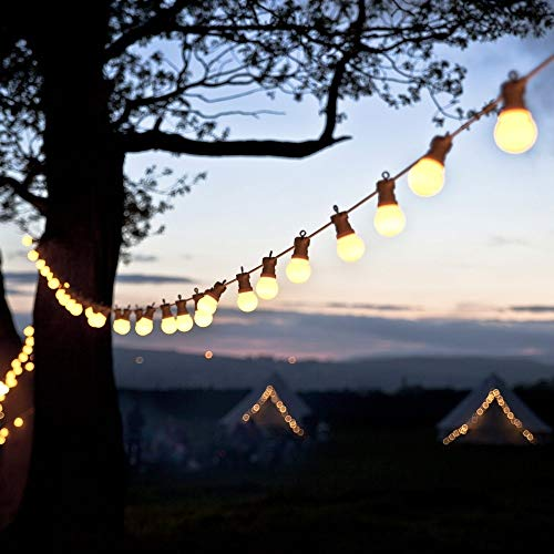 weichuang Party decoration lights 23M 25 LED Festoon Lights Bulb String Fairy Lights Connectable White Cable Outdoor Wateproof Christmas Wedding party decoration (Wattage : 23M 25Globes)