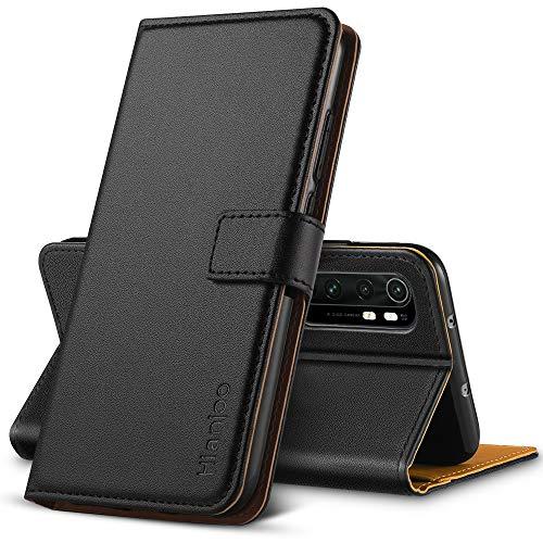 Hianjoo Hülle Kompatibel für Xiaomi Mi Note 10 Lite, Tasche Leder Flip Hülle Brieftasche Etui mit Kartenfach & Ständer Kompatibel für Xiaomi Mi Note 10 Lite, Schwarz