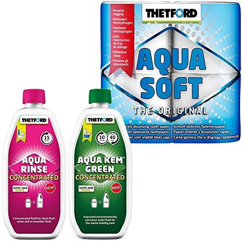 Thetford Set WC-Chemie Aqua KEM Green Concentrated+Aqua Rinse Concentrated+Papier Aqua Soft