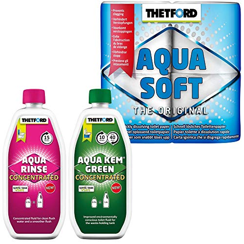 Thetford Aqua KEM - Set de inodoro químico concentrado y Aqua Rinse Concentrated + papel Aqua Soft