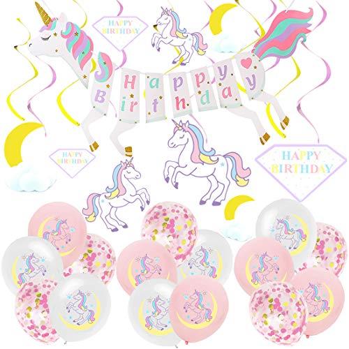 Unicornio Decoración de cumpleaños para niña, Rosa Feliz cumpleaños Conjunto de pancartas Unicornio Globo Látex Confeti Fiesta en Globo Decoración Chica Novia